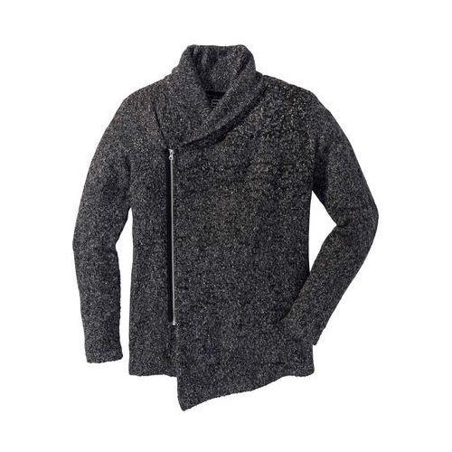 Swetry męskie, Sweter rozpinany z szalowym kołnierzem bonprix szary melanż