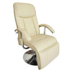 vidaXL Elektryczny fotel masujący z eko-skóry, regulowany, kremowy Darmowa wysyłka i zwroty