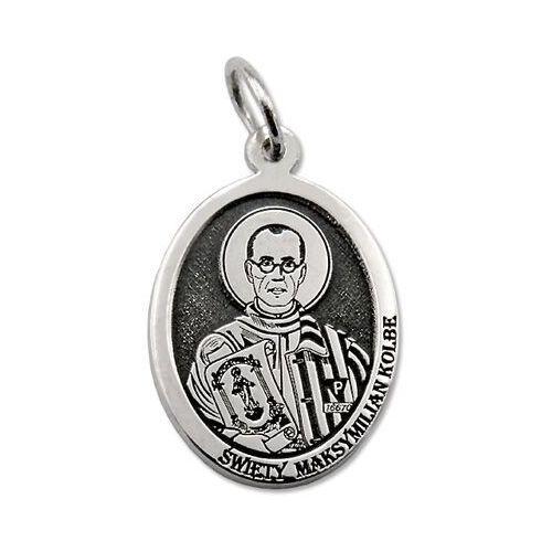 Pozostała biżuteria, Medalik srebrny z wizerunkiem św. maksymiliana marii kolbego med-mmk-01