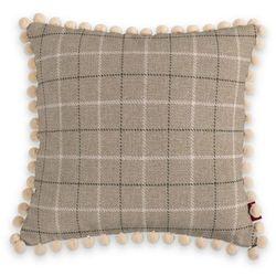 Dekoria Poszewka Wera na poduszkę, szaro- beżowa krata, 45 x 45 cm, Edinburgh