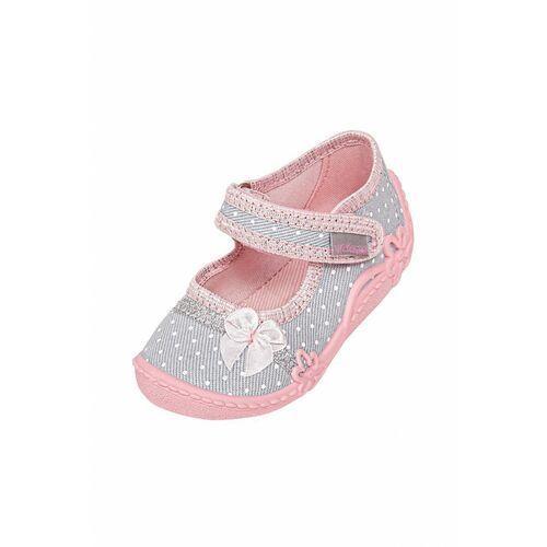 Butki dla niemowląt, Kapcie niemowlęce szaro-różowe 6Z38A4 Oferta ważna tylko do 2031-09-09