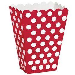 Pudełka na popcorn czerwone w białe kropki - 8 szt.
