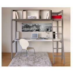 Vente-unique.pl Łóżko antresola giacomo - 90 × 190 cm - z biurkiem i półkami - drewno świerkowe szary