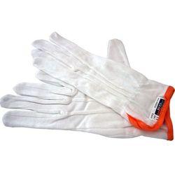 Rękawiczki bawełniane z pomarańczowym paskiem, rozmiar 8 - 12 par