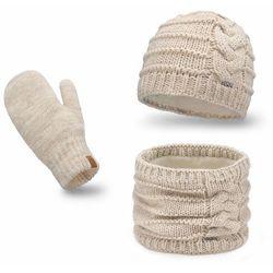 Komplet PaMaMi, czapka, komin, rękawiczki - Beżowy