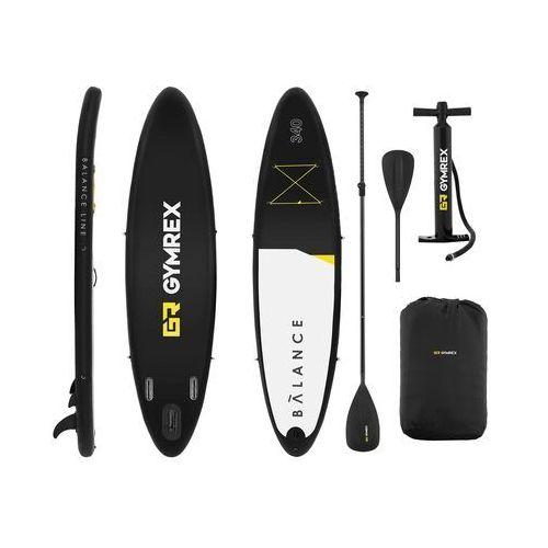 Pozostałe sporty wodne, Gymrex Deska SUP - dmuchana - Balance Line - 145 kg - czarna GR-SPB340 - 3 LATA GWARANCJI