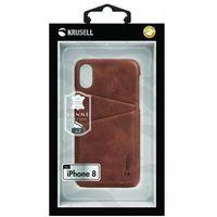 Etui i futerały do telefonów, Krusell Sunne 2 Card Cover - Skórzane etui iPhone X z dwoma zewnętrznymi kieszeniami na karty (Brown)