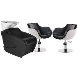Zestaw Mebli Fryzjerskich Myjnia Vanity Z Białą Misą + 2 Fotele Thomas Czarno-białe