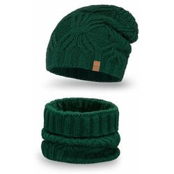 Komplet PaMaMi, czapka i komin - Butelkowa zieleń - Butelkowa zieleń