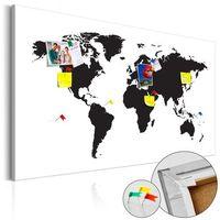 Obrazy, Obraz na korku - Mapa świata: Czarno-biała elegancja [Mapa korkowa] bogata chata