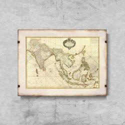 Plakat retro do salonu Plakat retro do salonu Stara mapa Azji Południowo-Wschodniej
