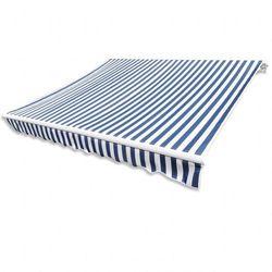 Markiza przeciwsłoneczna biało-niebieskie płótno 6 x 3 m (bez stelażu)