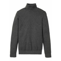 Sweter z golfem z kaszmirem bonprix ciemnoszary melanż