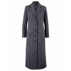 Długi płaszcz z materiału w optyce wełny bonprix antracytowy melanż