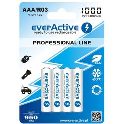 "4x everActive R03/AAA Ni-MH 1000 mAh ready to use ""Professional line"""