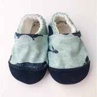 Butki dla niemowląt, Papcie Titot - rozmiar 18-24 miesięcy - Mint Whale ze skórką