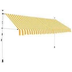 vidaXL Markiza zwijana ręcznie, 350 cm, żółto-białe pasy Darmowa wysyłka i zwroty