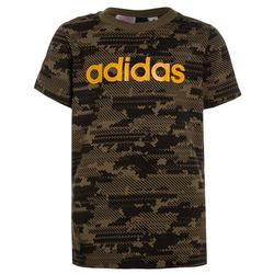 adidas Performance LINEAR Tshirt z nadrukiem trace olive/black/tactile yellow