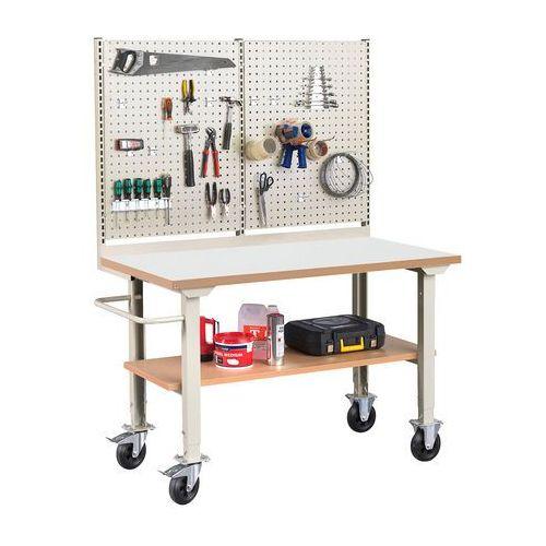 Stoły warsztatowe, Mobilny stół roboczy SOLID 400, z wyposażeniem, 1500x800 mm, laminat
