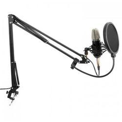 Zestaw studyjny mikrofon wielkomembranowy ramię mikrofonowe pająk osłona przed wiatrem kabel