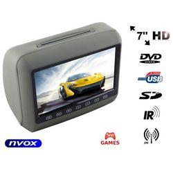 """NVOX HVR7023D GR Zagłówek multimedialny z ekranem 7"""" w rozdzielczości HD z DVD GRAMI USB SD"""