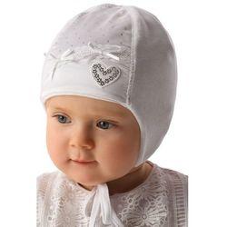 Biała czapka niemowlęca wiązana 5X34A3 Oferta ważna tylko do 2019-06-26