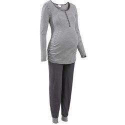 Piżama dla karmiących bonprix antracytowo - ecru w paski