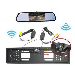 """Zestaw Cofania: Kamera Bezprzewodowa w Ramce Tablicy Rejestracyjnej + Monitor LCD 4,3"""" w Lusterku."""