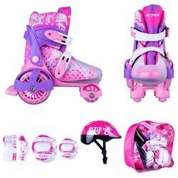 Zestaw dziecięcy: regulowane wrotki, kask, ochraniacze, torba Action Darly Girl - Kolor Fioletowy/Biały, Rozmiar S 30-33