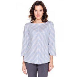 Błękitna bluzka w asymetryczne paski - Duet Woman