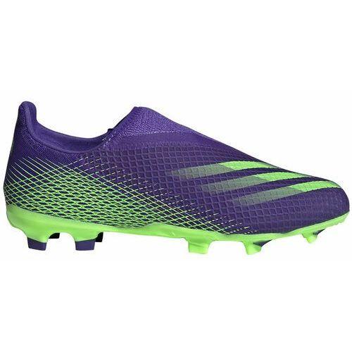 Piłka nożna, Buty piłkarskie adidas X Ghosted.3 LL FG Junior fioletowo-zielone EH2015
