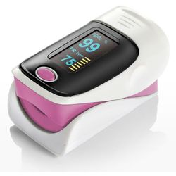 Pulsoksymetr na palec Yonker 80 z funkcją dźwięku i alarmu - różowy