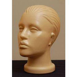 Głowa damska, plastikowa z włosami (czesana do tyłu) - w kolorze ciemnocielistym