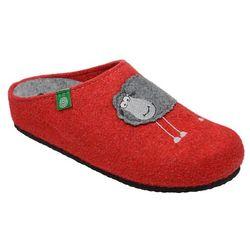 Kapcie Dr BRINKMANN 320485-4 Czerwone Pantofle domowe Ciapy zdrowotne - Czerwony ||Popielaty