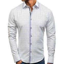 Koszula męska w kratę z długim rękawem biało-czarna Bolf 8812