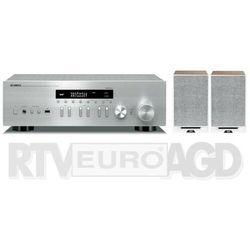 Yamaha MusicCast R-N402D (srebrny), Elac Debut Reference DBR62 (biały/orzech)