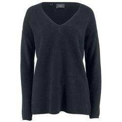 Sweter norweski z guzikami bonprix ciemnoniebiesko-naturalny melanż- turkusowy