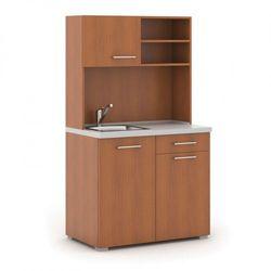 Kuchnia biurowa PRIMO, zlew, bateria, 1/2 drzwi, szary/czereśnia