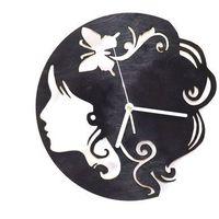 Zegary, Drewniany zegar na ścianę Twarz kobiety z białymi wskazówkami Dekoracje drewniane na ścianę (-10%)