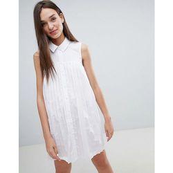 ASOS DESIGN Mini Cotton Pleated Swing Shirt Dress - White