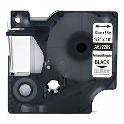 Taśma DYMO Rhino 622289 poliestrowa 12mm x 5.5m przeźroczysta czarny nadruk - zamiennik