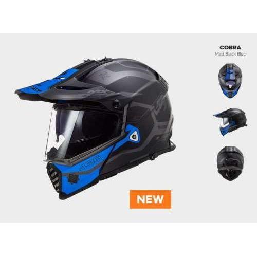 Kaski motocyklowe, KASK MOTOCYKLOWYKASK LS2 MX436 PIONEER EVO COBRA BLACK BLUE - nowość 2020 roku