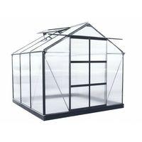 Szklarnie, Szklarnia ogrodowa z poliwęglanu o pow. 5,9 m² ANISSA z podstawą - Metaliczny szary
