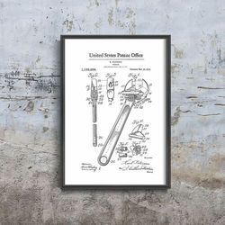 Plakat vintage do salonu Plakat vintage do salonu Klucz nastawny Patent USA