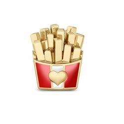 Pozłacany srebrny charms do pandora pudełko frytek chips srebro 925 NEW168