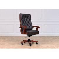 Fotele i krzesła biurowe, Fotel skórzany CONSUL czarny