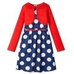 Sukienka + pasek + bolerko (3 części) bonprix niebiesko-biały w kropki - czerwony