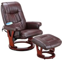 Fotele masujące, BRĄZOWY FOTEL MASUJĄCY WYPOCZYNKOWY BIUROWY MASAŻ GRZANIE - Brązowy 2533 (-20%)