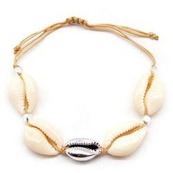 Bransoletka beżowa muszelki muszle srebrna sznurek