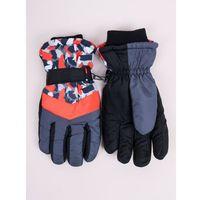Odzież do sportów zimowych, Rękawiczki narciarskie damskie czarne z pomarańczowymi akcentami 18